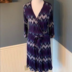 Pixley (Stitch Fix) Navy Faux Wrap Dress Belted
